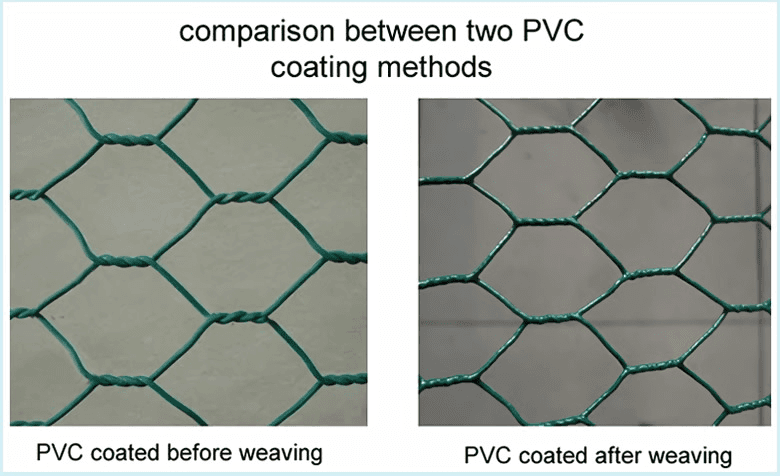 comparison between PVC coated before and after weaving