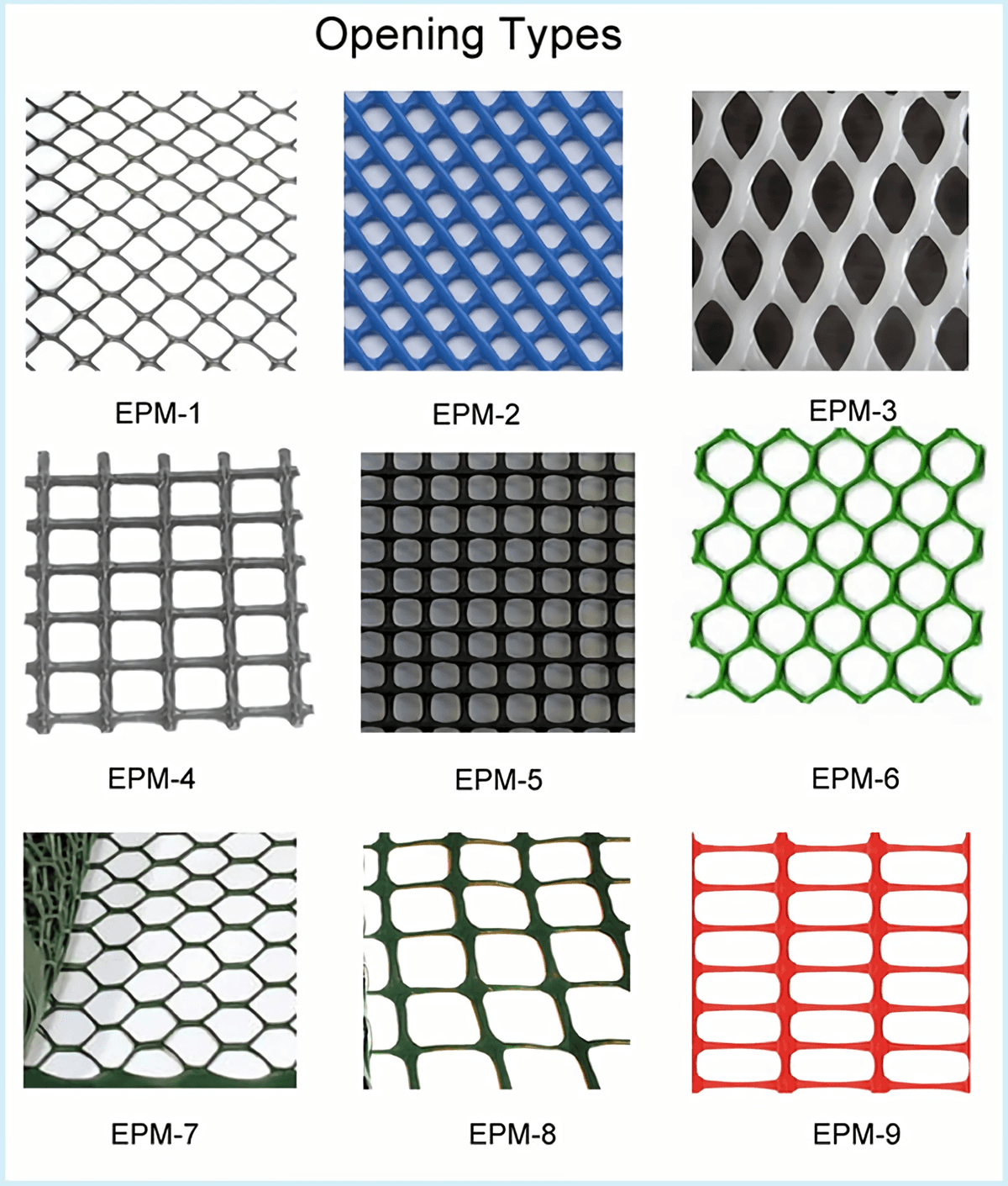 nine kinds of opening types of extruded plastic meshes.