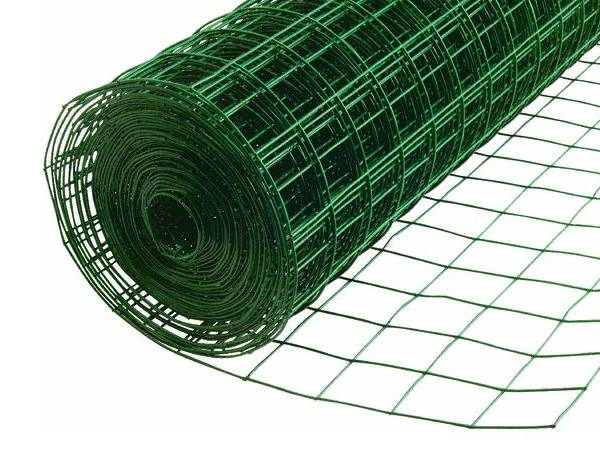 a roll of green PVC coated welded wire mesh